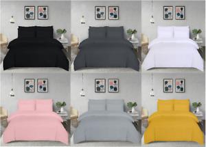Plain Duvet Quilt Cover Pillowcases Bedding Set Single Double King Super King