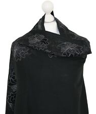 Black Embroidered Shawl Stole Scarf Pashmina Wool Velvet Patch Indian Kashmir