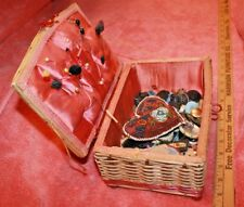 Vintage Sewing Basket filled with Sewing Items