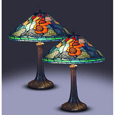 """Tiffany Style Victorian Golden Poppy Table Lamp Handcrafted 16"""" Shade"""