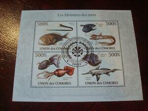 COMOROS - 2010 SEA `MONSTERS` MINISHEET UNMOUNTED USED MINIATURE SOUVENIR SHEET