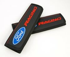 Ford Racing Car Seat Belt Shoulder Pads Covers Black Leather Embroidery Logo