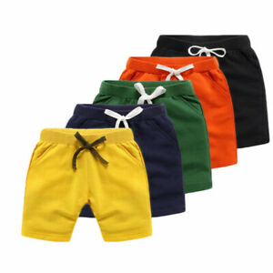 Boys Cotton Shorts Summer Casual Solid Kids Elastic Waist Shorts Age 2-9 years
