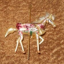 ITALIAN ART BLOWN GLASS CAROUSEL HORSE GOLD TRIM CHRISTMAS ORNAMENT