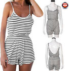 Women Casual Summer Cotton Backless Beach Striped Cami Jumpsuit Romper Playsuit