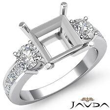 3 Stone Diamond Wedding Unique Ring Round Princess Semi Mount 18k White Gold 1Ct