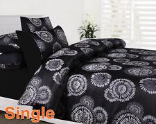 Single/Double/Queen/King Size Bed Quilt/Duvet Cover Set-Black Dahlia