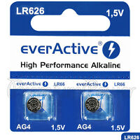 2 x everActive AG4 LR66 Alkaline batteries LR626 L626 177 1.5V GREAT VALUE