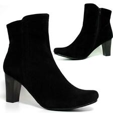 Ladies Womens Mid High Heels Faux Suede Chelsea Smart Zip Ankle Boots Shoes Size