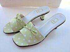 NEW C.B. Collections Women's Shoes Seafoam Polka Dot Kitten Heels Bow Slides 8M