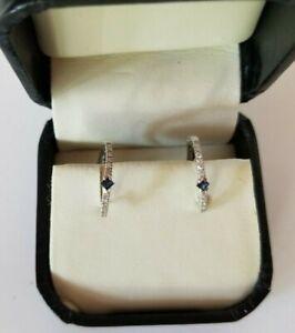 Vtg 14k EMA White Gold Blue Sapphire small hoop earrings New in box