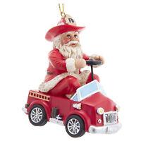 Kurt Adler Fireman Santa Red Fire Truck Christmas Tree Ornament Holiday Decor