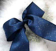 WIRED CHRISTMAS RIBBON NAVY & SILVER SPECKS SATIN 1mtr x 63mm  TREES  BOWS  GIFT