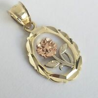 Oval Solid real 10k yellow white rose flower Gold pendant charm 0.85 inch long