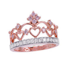 Real 049ct Natural Fancy Pink Diamonds Engagement Ring 18K Solid Gold 4G Crown
