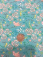 Floral Roses Birds Wildlife Turquoise 100% Craft Cotton Company Quilting Fabric