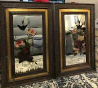Vtg 2 Beveled Glass Wall Mirror Carved Wood Heavy Hand Painted Flowers Bird Set