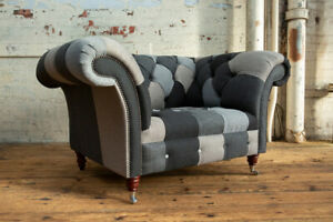 LARGE HANDMADE GREY WOOL MIX PATCHWORK CHESTERFIELD SNUGGLE CHAIR, FABRIC