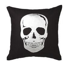 SKULL SILVER Black Square Filled Cushion 45cm x 45cm - Ultima Logan and Mason