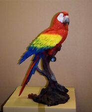 Papagei Ara Rot auf Stamm Dekoration Tierfigur Gartenfigur Deko Figur Vogel