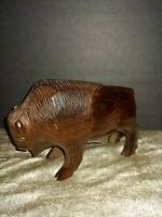 """Unique Hand Carved Ironwood Buffalo Bison Figurine Wood Carving 8"""""""