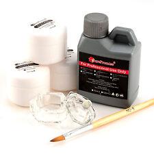 4in1 Nail Art Kit Pink White Clear Color Powder Acrylic Liquid Dappen Dish Set