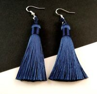 1 Pair of Polyester Navy Blue Tassel Earrings with Sterling Silver Hooks - #359