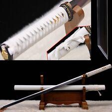 White Hand Forge Japanese Samurai Sword 1095 High Carbon Steel Full Tang Blade
