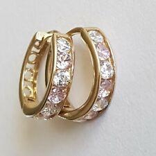 Stunning Solid 9ct Gold Ladies Hinge Hoop Huggie Earrings. 12mm. 1.32g. Jewelry