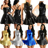 Women Wet Look Leather Sleeveless Flare Mini Clubwear Skater Dress Evening Party