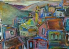 Rephael Mohar Gouache + Oil Painting SAFED 1945 Israel Poland Jewish Art Judaica