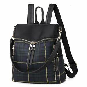 Women Plaid Backpack Shoulder School Bags Vintage Anti Theft Backpacks For Girls