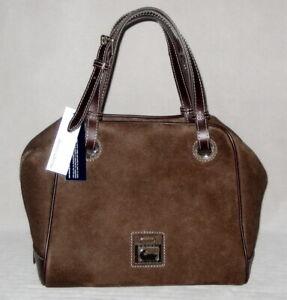 NWT Dooney & Bourke NUBUCK Leather Zip GROMMET Satchel Bag Purse Brown MSRP$468