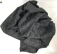 NEW/AUTH GUCCI 165903 Large Wool Silk GG Guccissima Scarf Muffler, Anthracite