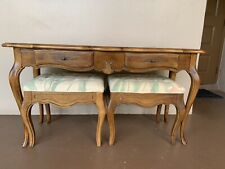 Ethan Allen Country French Sofa Table with 2 Matching Benches in Fruitwood