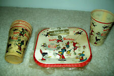 1959 Huck Hound & Other Hanna-Barbera Characters Paper Plates + Cups for Parties