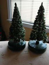 2 vintage small brush christmas trees for train or village decoration