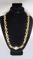 Swarovski Swan Signed Black Enamel Figure Eight Bows linked crystal necklace