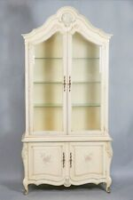 French Provincial Style Polychrome And Cream Painted Lighted Cabinet