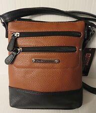 Stone Mountain leather crossbody handbag black/tan messinger mini xbody brown