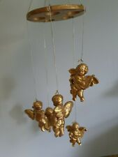 More details for five gilded gold coloured musical cherubs hanging mobile vintage 1990s p&p inc