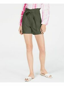 INC Womens Green Belted Tie Front Paper Bag Shorts Size: S