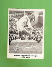 #D317. 1967 MIRROR NEWSPAPER RUGBY LEAGUE CARD - GRAEME LANGLANDS,  ST GEORGE