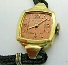 LeCoultre 17J lady's wrist watch 14k yellow solid gold vintage needs crystal