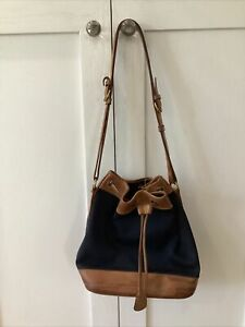 Dooney and Bourke Bucket & Drawstring Bag- two tone blue and tan leather