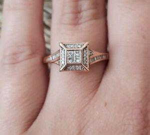 Kay Jewelers 10k Diamond Ring 1/3 Ct tw Princess cut/Baguette Rose Gold * Sz 8