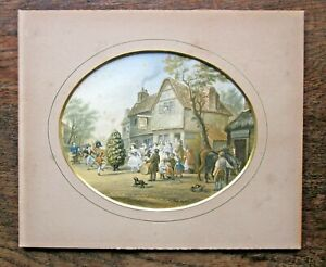 c1855 May Day Antique Print Le Blond Jack-in-the-green Mummers Baxter Colour