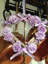 Wicker Heart Hanging Decoration Floral Country Farmhouse Lavender Roses