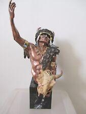 "1992 Chilmark McGrory MetalART Pewter Sculpture Seekers Buffalo Vision 16"" NEW"