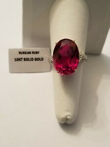 PRETTY 9.50 CT RUSSIAN RUBY & DIAMOND 10KT SOLID YELLOW GOLD RING SIZE 7.5
